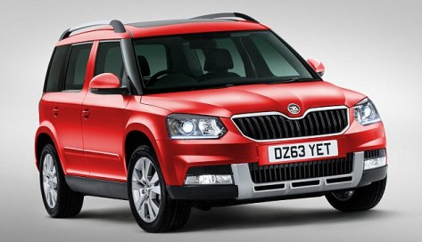 The new Skoda Yeti in red.